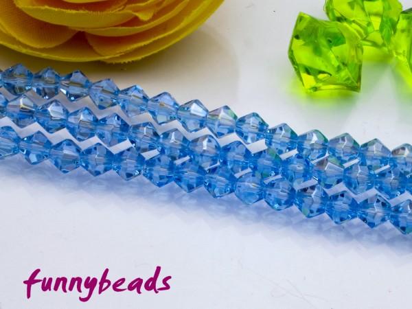 1 Strang Glasschliffperlen Bicone 4 mm hellblau AB