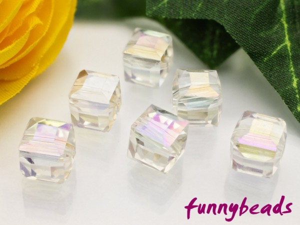 30 Glaswürfel facettiert rainbow crystal 4 x 4 mm