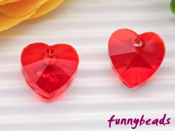 Glasanhänger Herz rot 10 mm