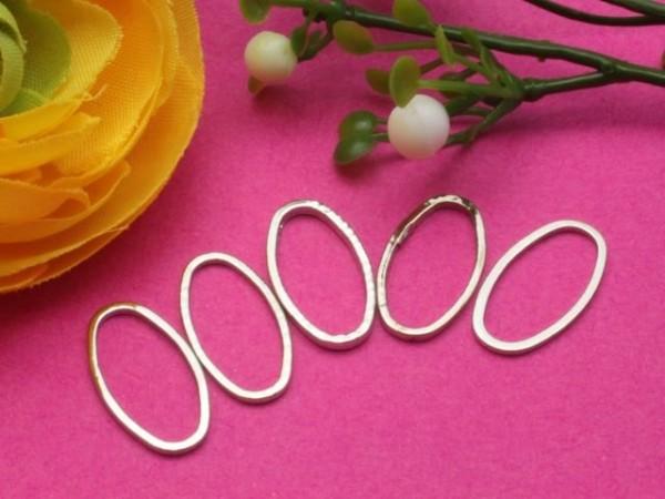 10 Ringe Metall oval platinfarben 16 mm
