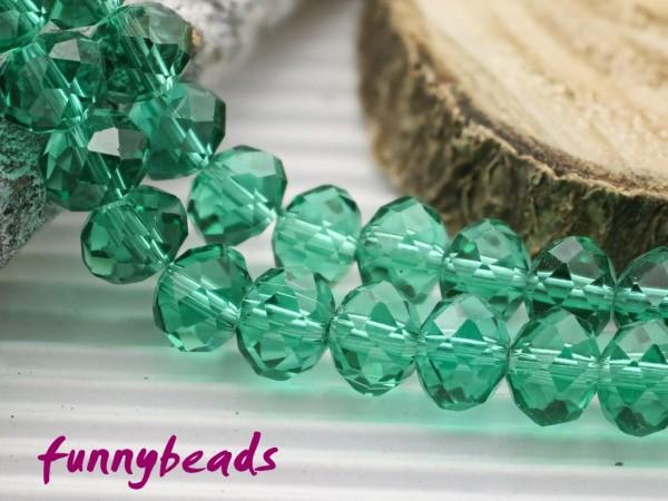 10 Glasschliffperlen Rondelle türkisgrün 8 x 6 mm
