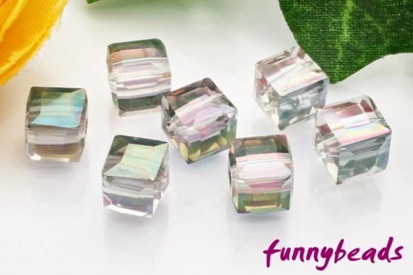 20 Glaswürfel facettiert clear electroplated 6 x 6 mm