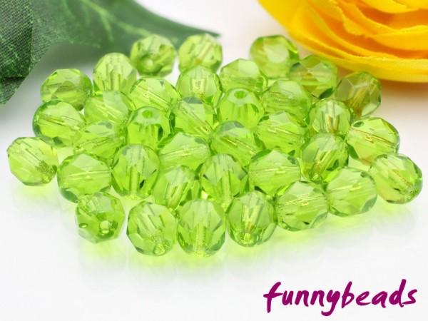 50 Glasschliffperlen olivine 6 mm