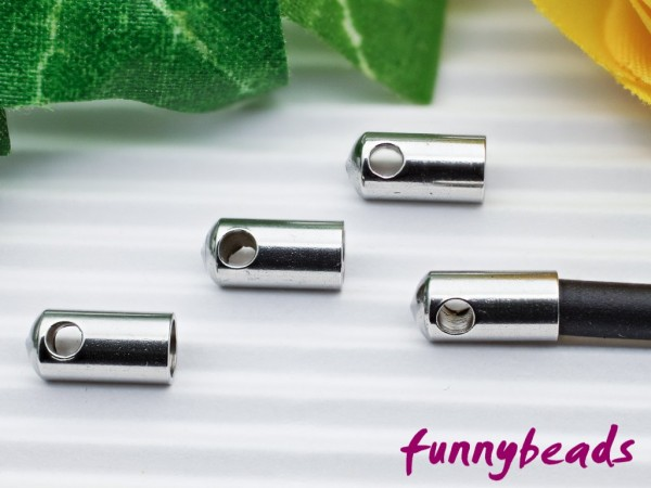 4 Endkappen Edelstahl für 3 mm Bänder