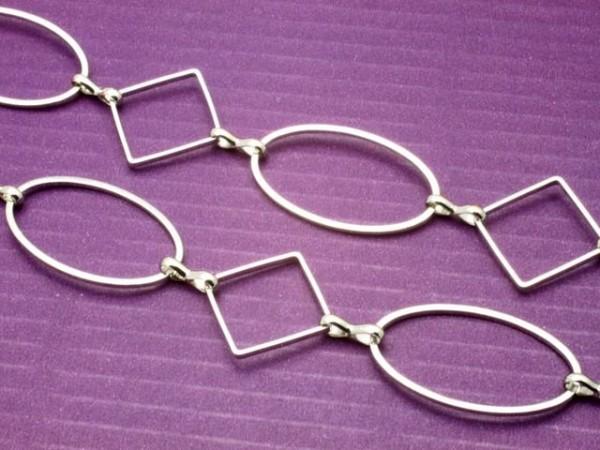 Metallkette Jasseronkette Ovale und Quadrate 25 cm