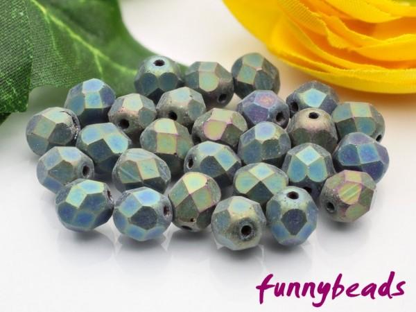 50 Glasschliffperlen matte iris green 6 mm