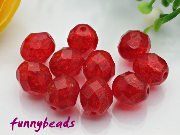 20 Glasschliffperlen crackle siam ruby 8 mm