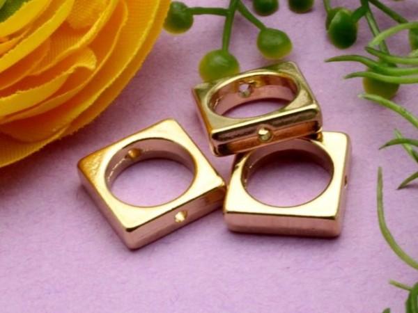 3 Metall Quadrat Ringe 10 mm goldfarben