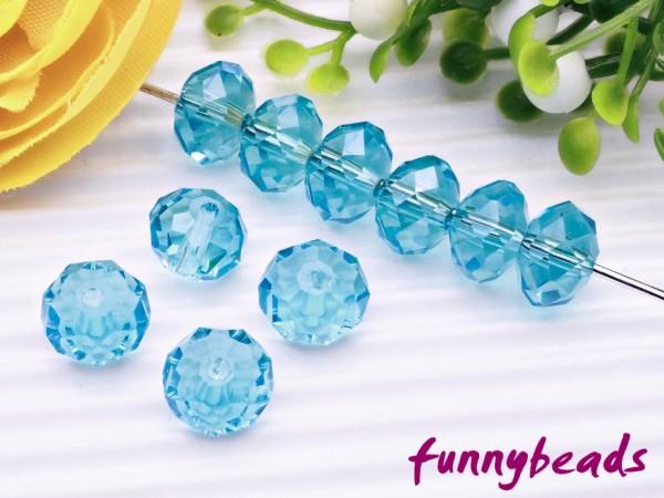 20 Glasschliffperlen Rondelle himmelblau AB 6 x 4 mm