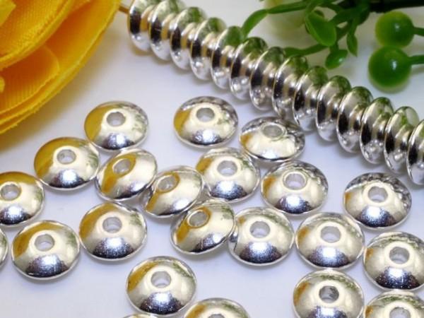 50 Metallperlen Scheiben Rondelle silberfarben 6 mm