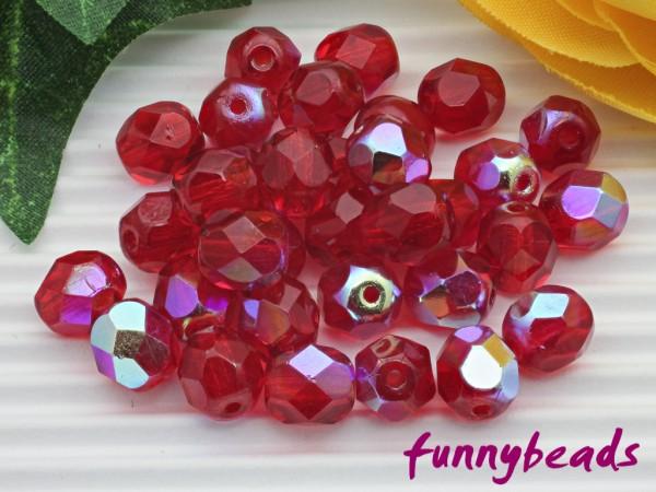 50 Glasschliffperlen siam ruby AB 6 mm