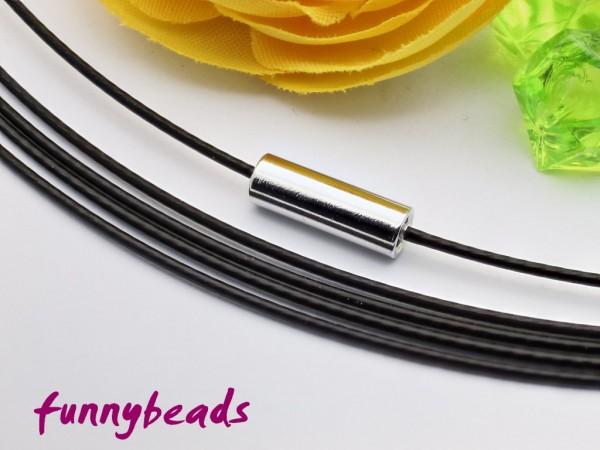 1 Halsreifen Edelstahl schwarz 1 mm mit glattem Drehverschluss