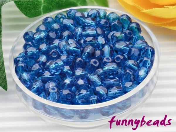 100 Glasschliffperlen capri blue 4 mm