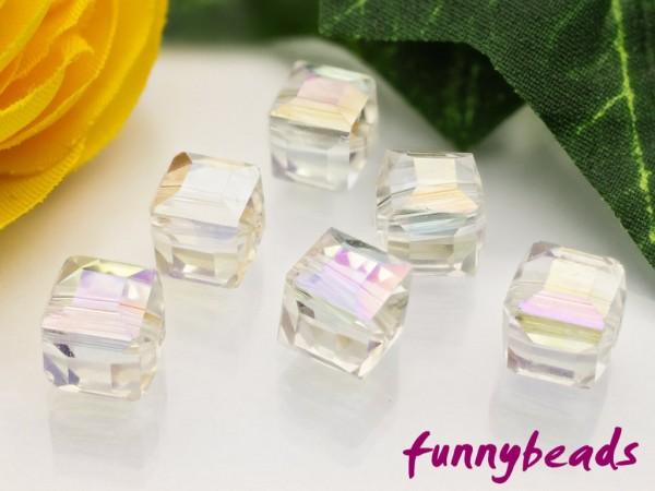 10 Glaswürfel facettiert rainbow crystal 8 x 8 mm