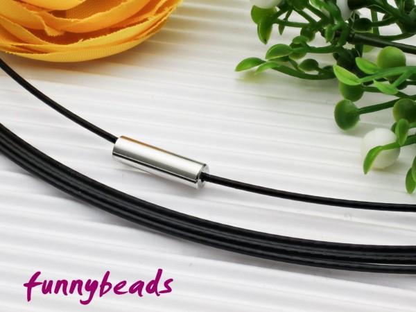 1 Halsreifen Edelstahl mit Magnetverschluss schwarz 1 mm