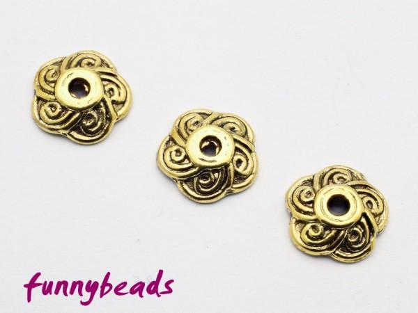 Perlenkappe Spiralmuster antikgolden 9 mm