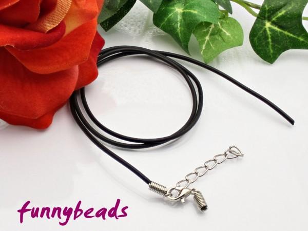 1 Kautschukband Halsband offen schwarz 1,5 mm