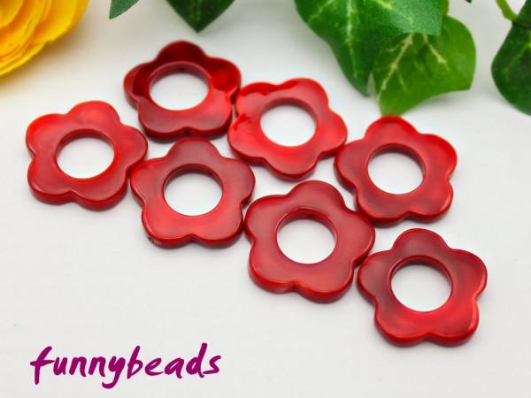 10 Perlmutt Scheiben Blume rot 20 mm