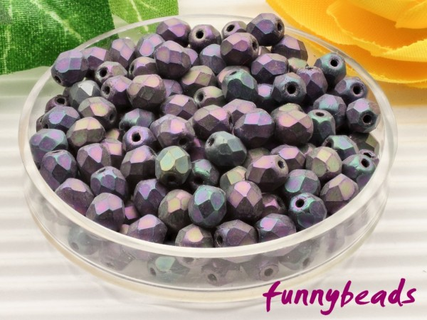 100 Glasschliffperlen matte iris purple 4 mm