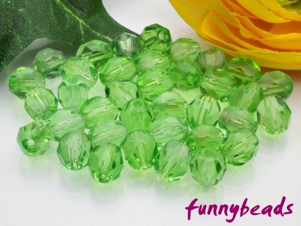 50 Glasschliffperlen light green 6 mm