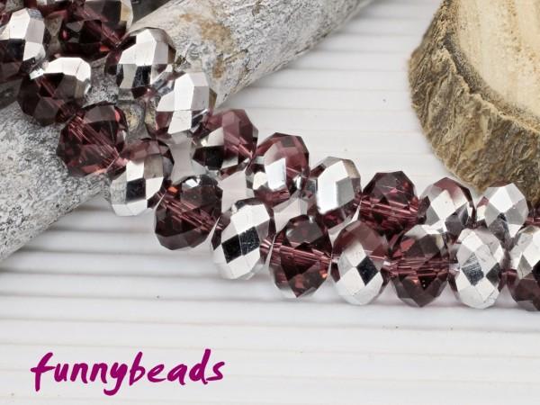 10 Glasschliffperlen Rondelle amethyst silberfarben 8 x 6 mm