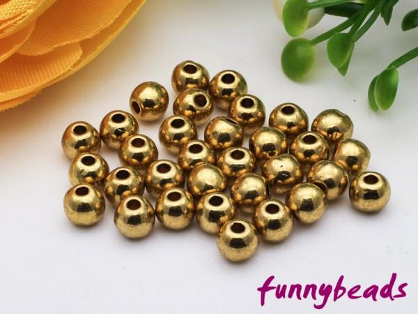 50 Metallperlen gold 4 mm