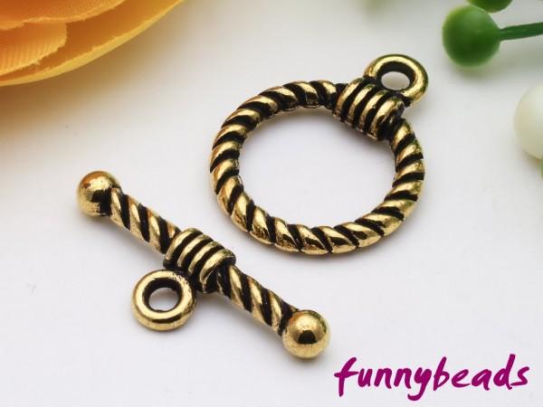 Knebelverschluss altgold Ring gemustert 2-teilig