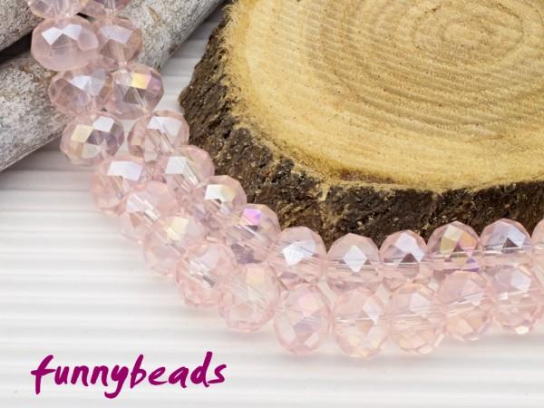 10 Glasschliffperlen Rondelle rosa AB 8 x 6 mm