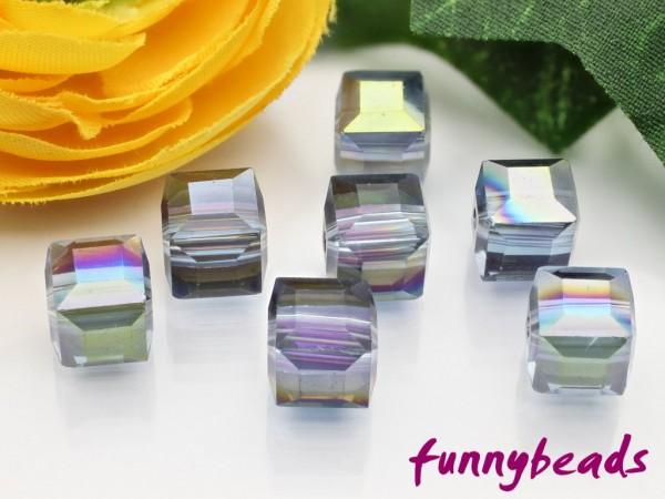 10 Glaswürfel facettiert cyan electroplate 8 x 8 mm