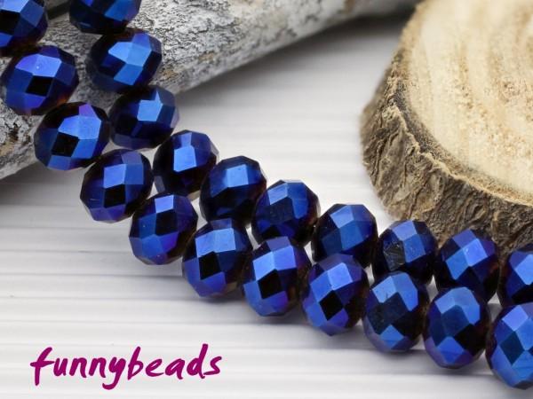 10 Glasschliffperlen Rondelle blau metallic 8 x 6 mm