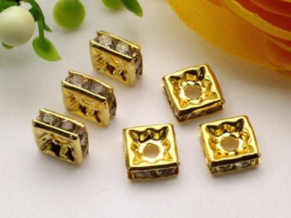 Strassquadrat gold crystal 6 x 6 mm