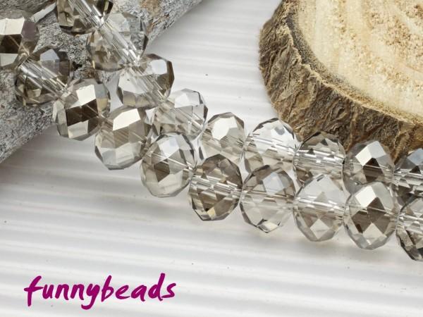 10 Glasschliffperlen Rondelle kristall silber 8 x 6 mm