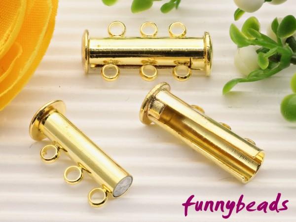 Magnetschiebeverschluss dreireihig goldfarben 20 mm