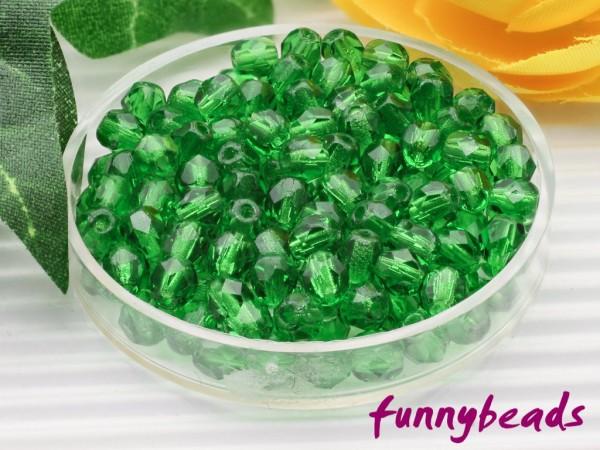 100 Glasschliffperlen green 4 mm