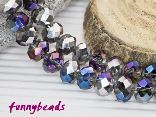 10 Glasschliffperlen Rondelle mitternachtsblau silber metallic 8 x 6 mm