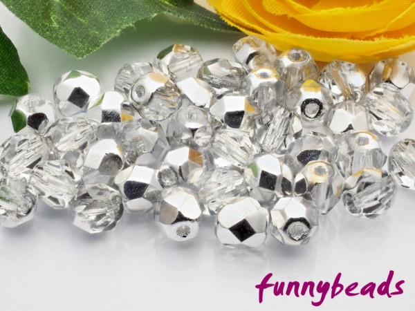 50 Glasschliffperlen silver 1/2 coated crystal 6 mm