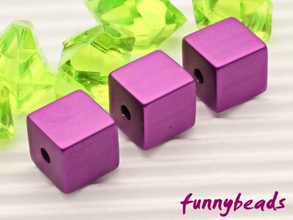 Aluminiumwürfel lila 8 mm