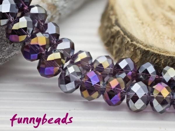 10 Glasschliffperlen Rondelle violett AB 8 x 6 mm