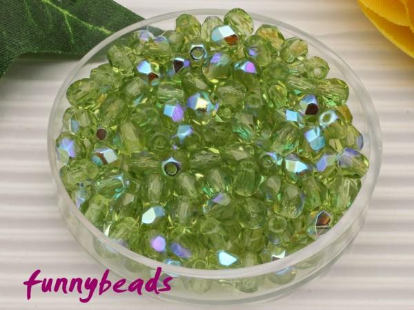 100 Glasschliffperlen olivine AB 4 mm