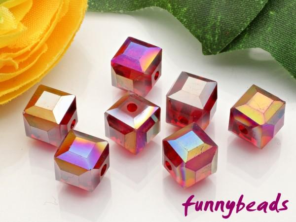10 Glaswürfel facettiert dark red AB 8 x 8 mm
