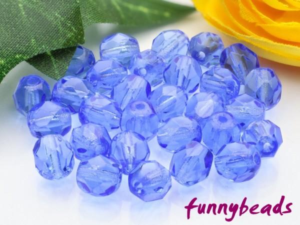 50 Glasschliffperlen sapphire 6 mm