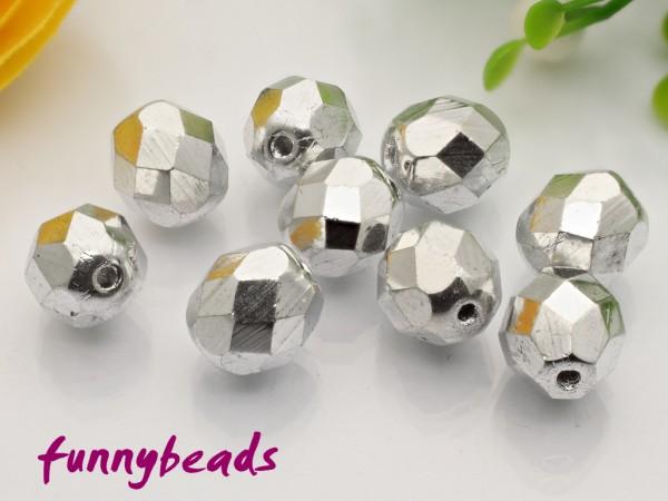 20 Glasschliffperlen silver 8 mm