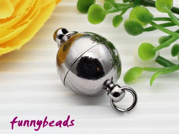 Magnetverschluss Kugel anthrazit 12 mm mit Ringen