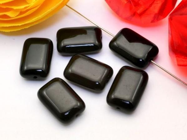 10 Glasperlen Rechtecke schwarz 12 mm