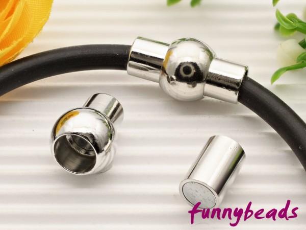 Magnetverschluss oval platinfarben für Bänder bis 1,5 mm