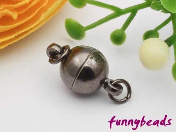 Magnetverschluss Kugel schwarz 8 mm mit Ringen