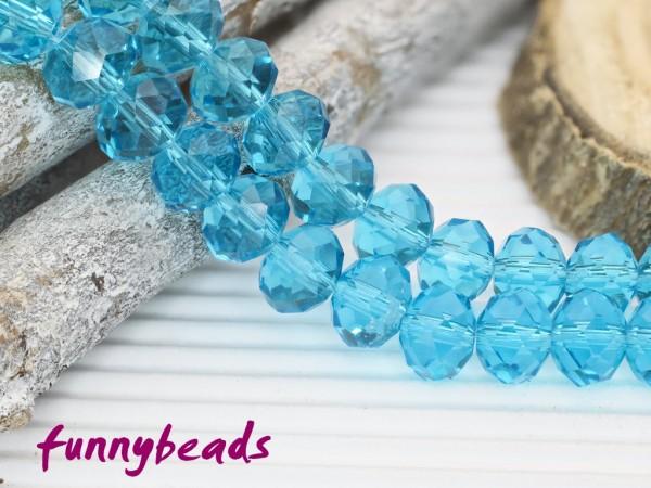 10 Glasschliffperlen Rondelle türkisblau 8 x 6 mm