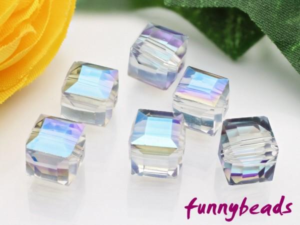 10 Glaswürfel facettiert clear half plated blue 8 x 8 mm