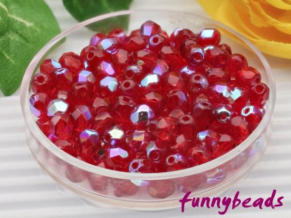 100 Glasschliffperlen siam ruby AB 4 mm