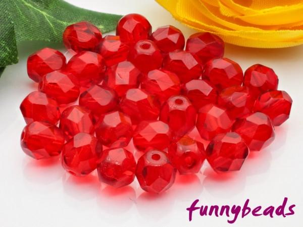 50 Glasschliffperlen siam ruby 6 mm